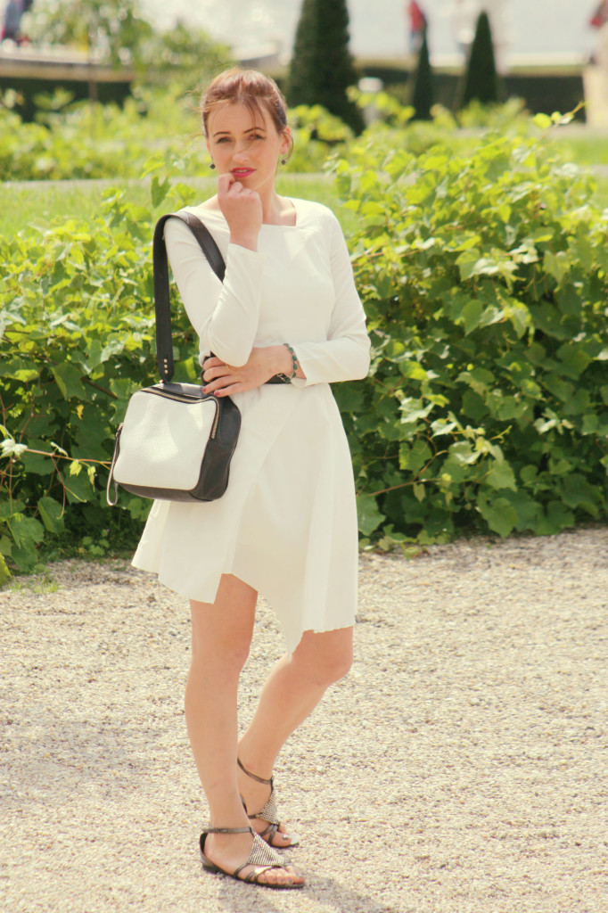 white dress with an assymetric hem 2